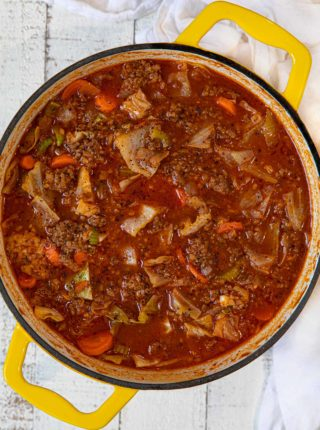 Beef and Cabbage Roll Soup in dutch oven