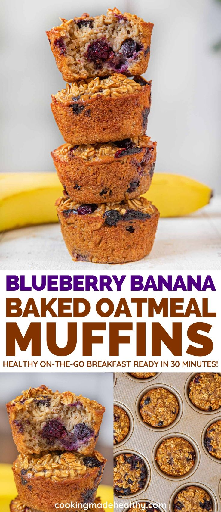Blueberry Banana Baked Oatmeal Muffins