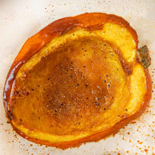 Brown Sugar Acorn Squash roasted on baking dish