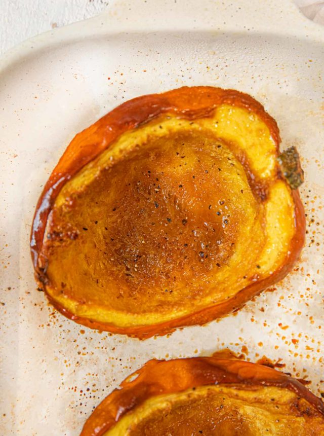Brown Sugar Acorn Squash roasted in baking dish