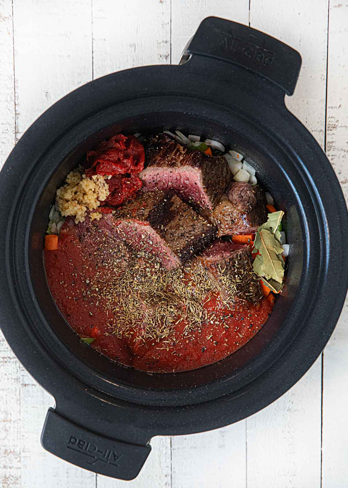 Lite Beef Ragu in slow cooker before cooking