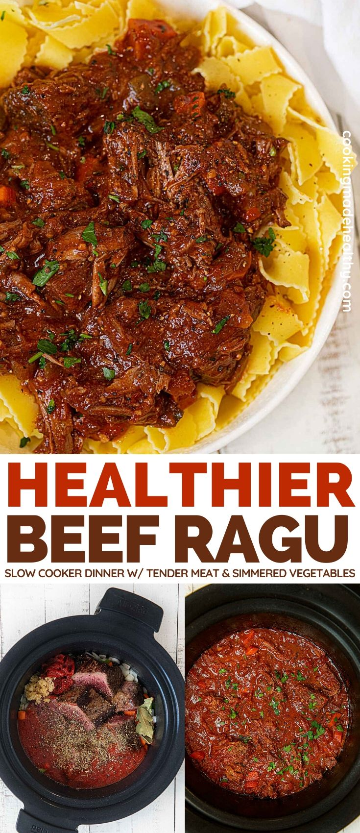 Healthy Beef Ragu served with pasta.