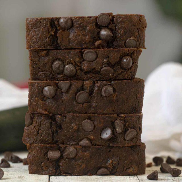 Stack of Chocolate Zucchini Brea