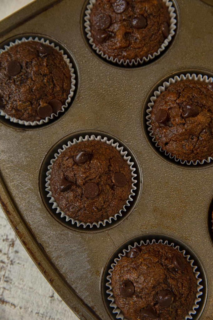 Muffin Tin with Chocolate Zucchini Muffins