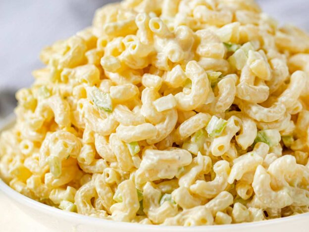 Healthy Macaroni Salad in bowl