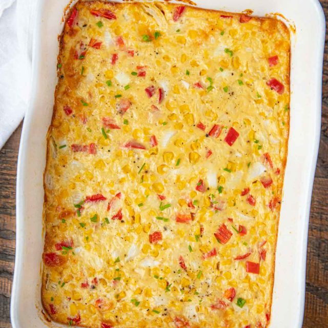 Healthy Swiss Corn Casserole in baking dish