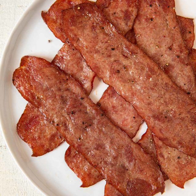 Oven Baked Turkey Bacon on plate