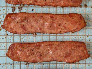 Oven Baked Turkey Bacon on baking rack