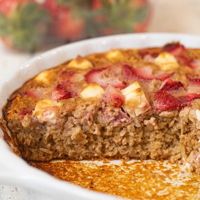 Strawberry Creme Baked Oatmeal in baking dish