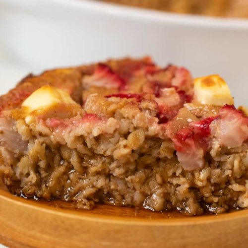 Strawberry Creme Baked Oatmeal on plate