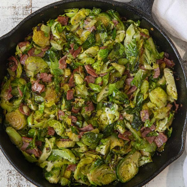 Turkey Bacon Brussels Sprouts in black cast iron pan