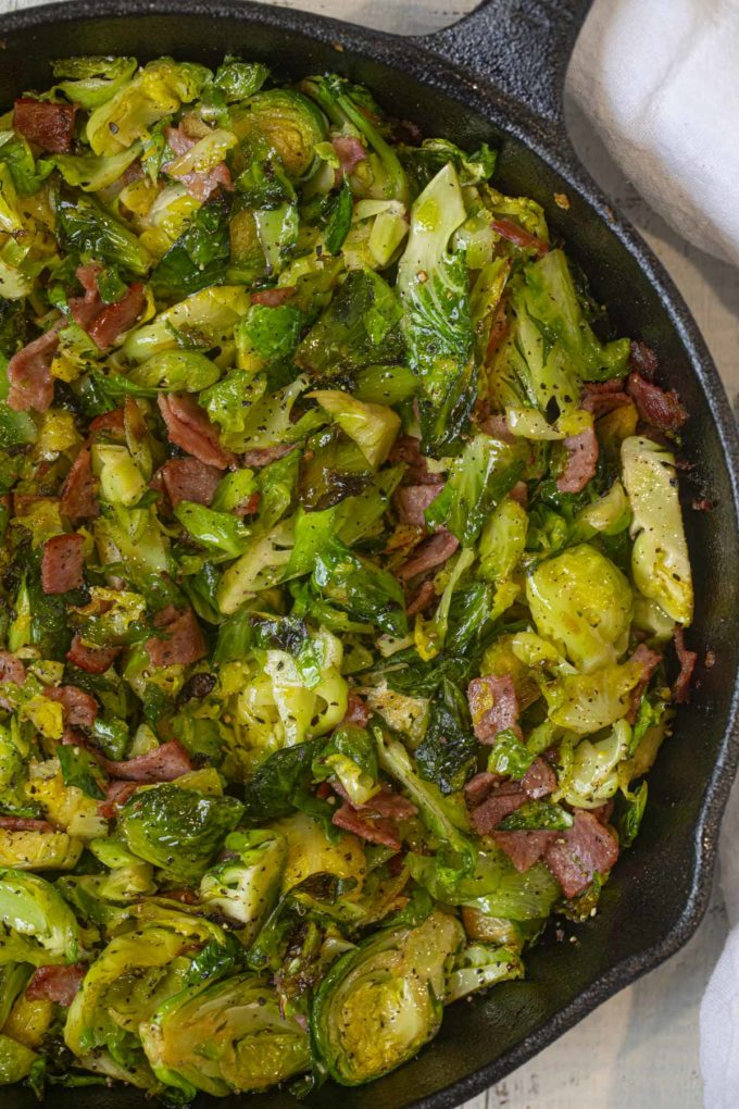Crispy skillet Brussels Sprouts with Turkey Bacon