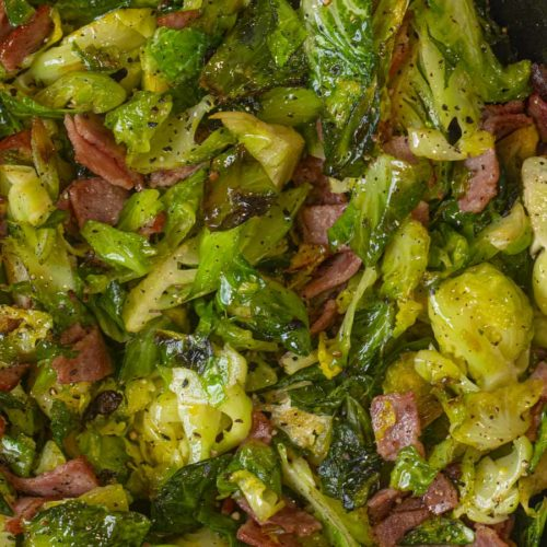 Turkey Bacon Brussels Sprouts in skillet