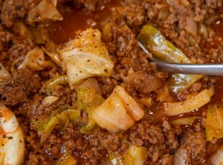 Unstuffed Beef and Cabbage close up with spoon