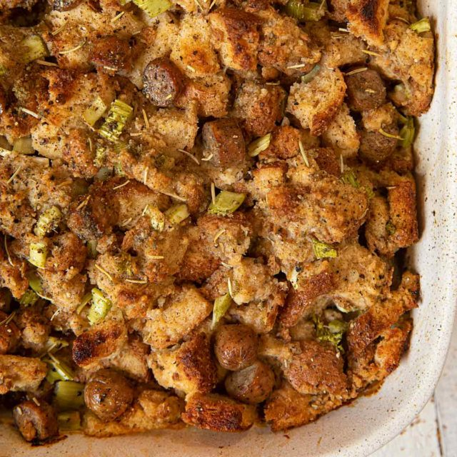 Whole Wheat Chicken Sausage Stuffing in baking dish