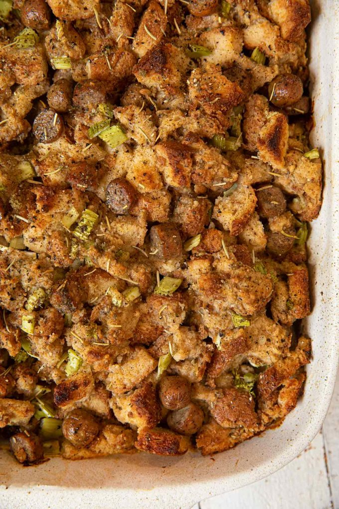 Whole Wheat Chicken Sausage Stuffing in baking dish, top-down view