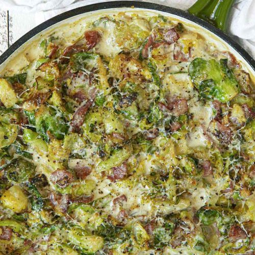 Turkey Bacon Brussels Sprouts Gratin