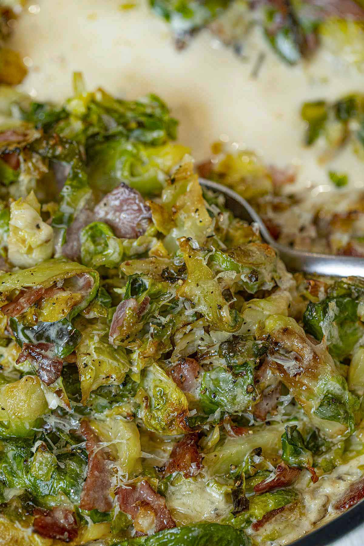 Spoonful of Brussels Sprouts Gratin with Turkey Bacon