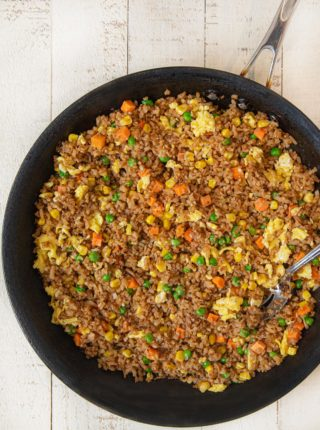 Cauliflower Egg Fried Rice with egg in pan