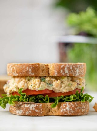 Chickpea Salad Sandwich on cutting board