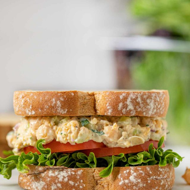 Chickpea Salad Sandwich on cutting board