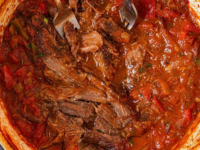 Healthier Italian Pot Roast in pot