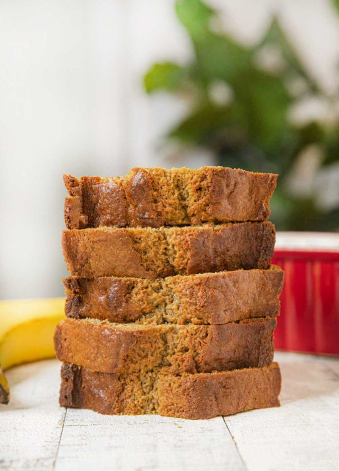 Healthy Banana Bread slices in stack