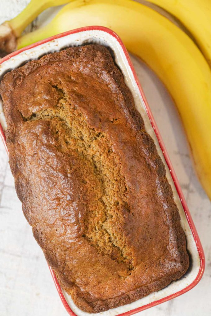Healthy Banana Bread in loaf pan