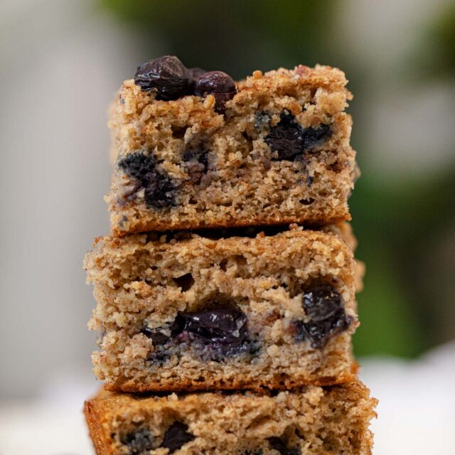 Blueberry Coffee Cake in stack
