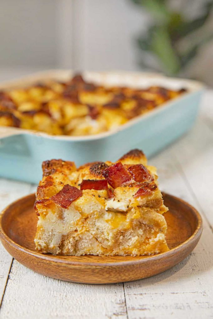 Healthy Breakfast Casserole with Turkey Bacon portion on plate