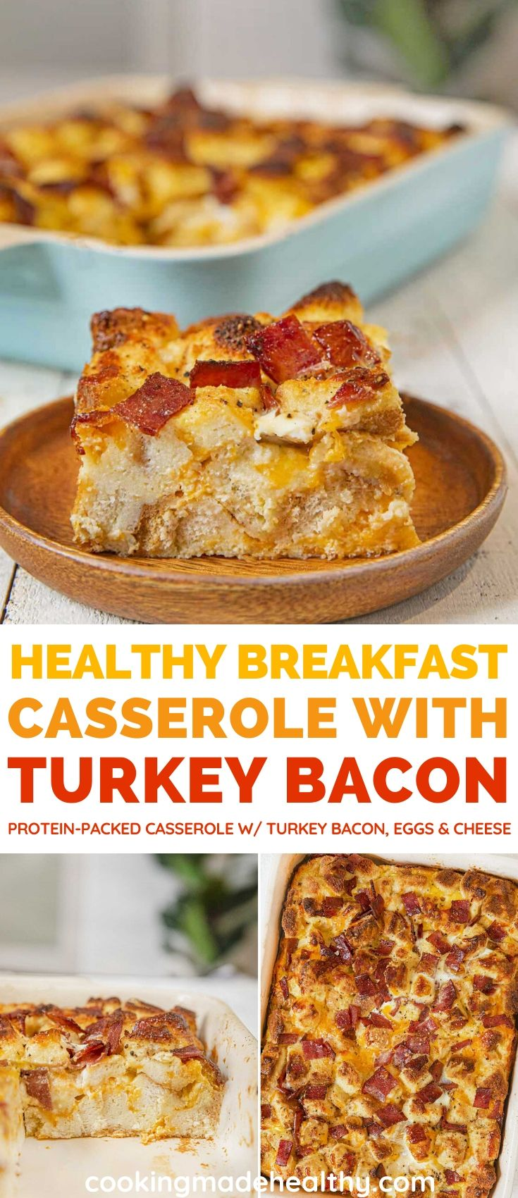 Healthy Breakfast Casserole with Turkey Bacon collage