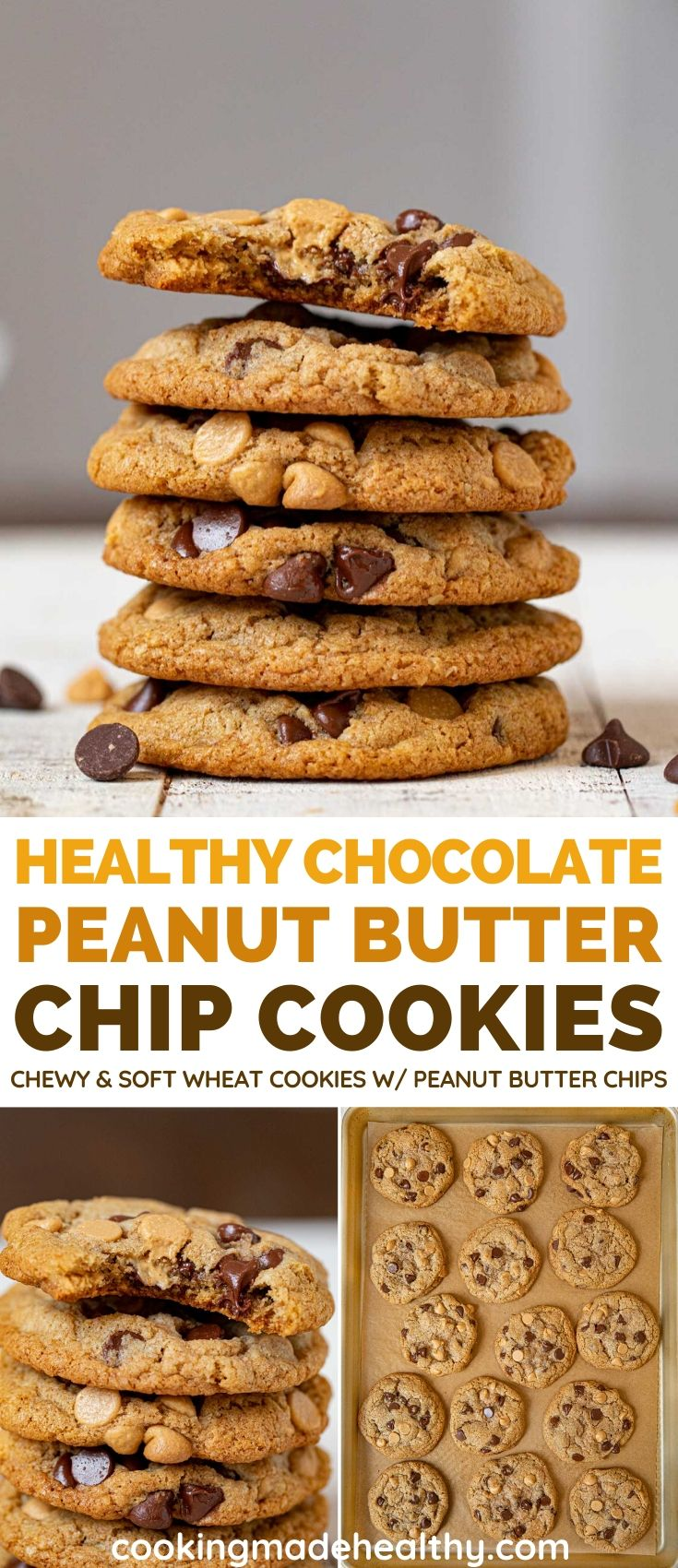 Whole Wheat Peanut Butter Chip Cookies collage
