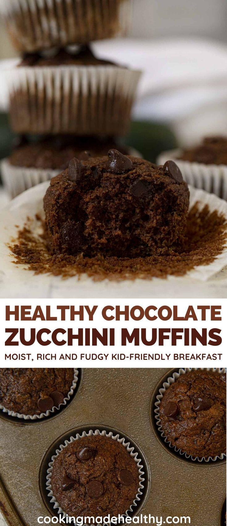 Healthy Chocolate Zucchini Muffins collage