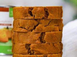 Whole Wheat Pumpkin Bread slices in stack