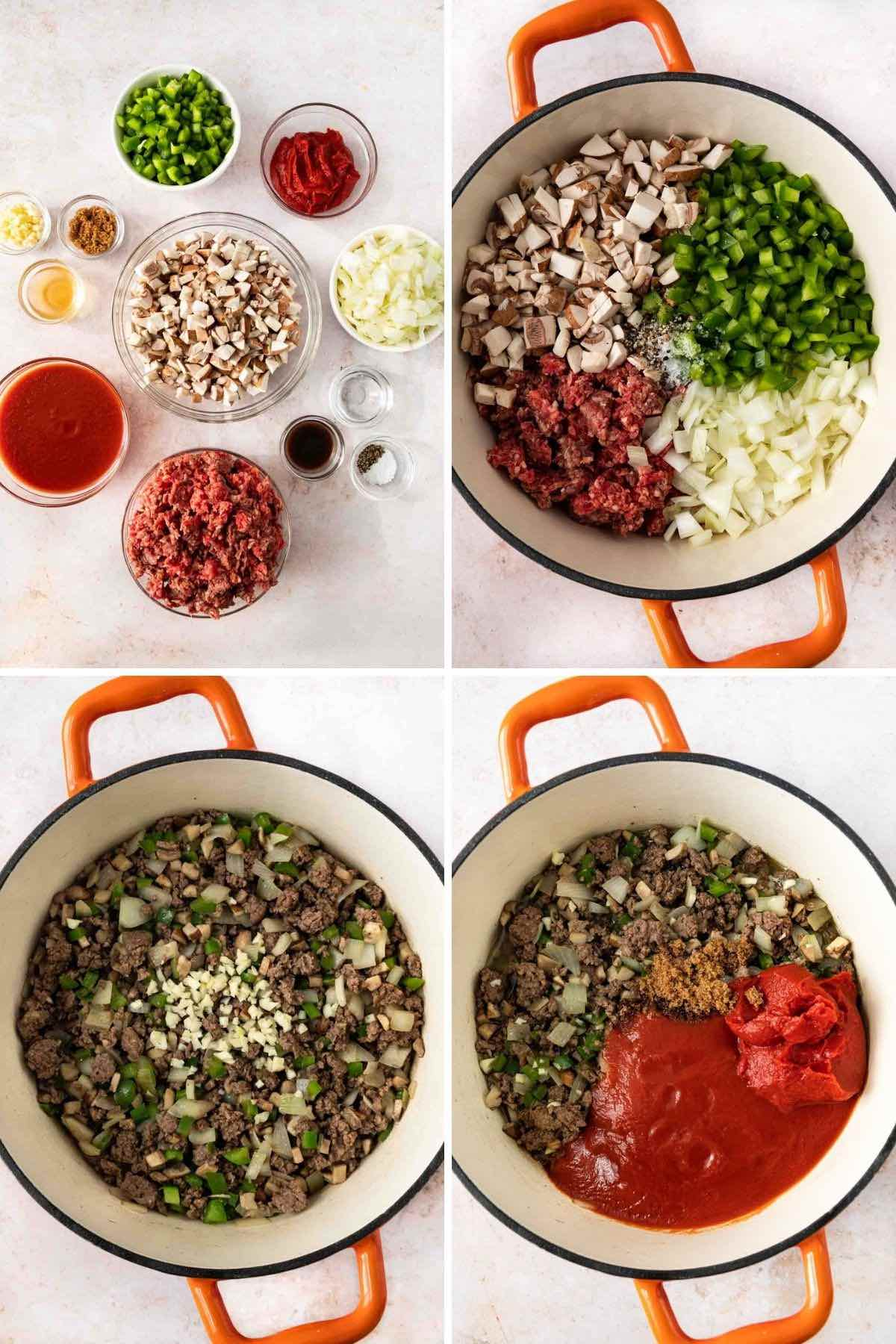 Healthy Sloppy Joes collage of prep steps