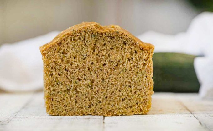 Whole Wheat Zucchini Bread cut crosswise
