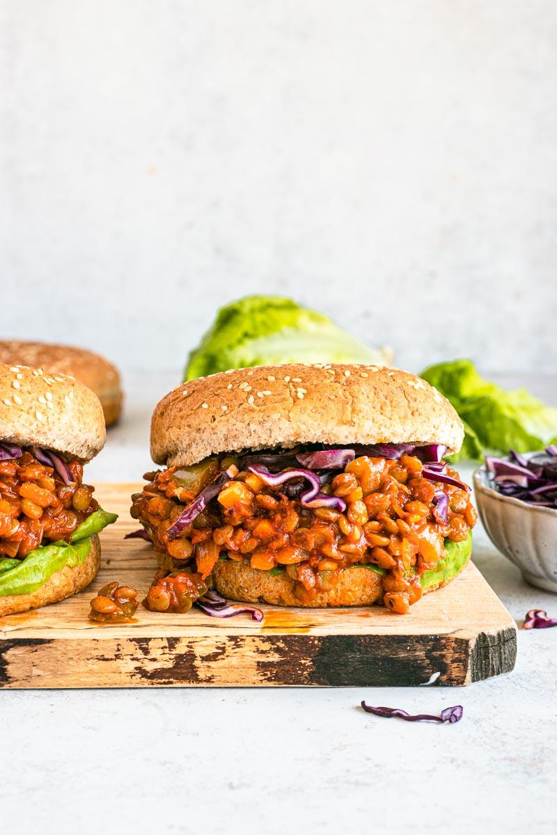 Lentil Sloppy Joes sandwiches on cutting board