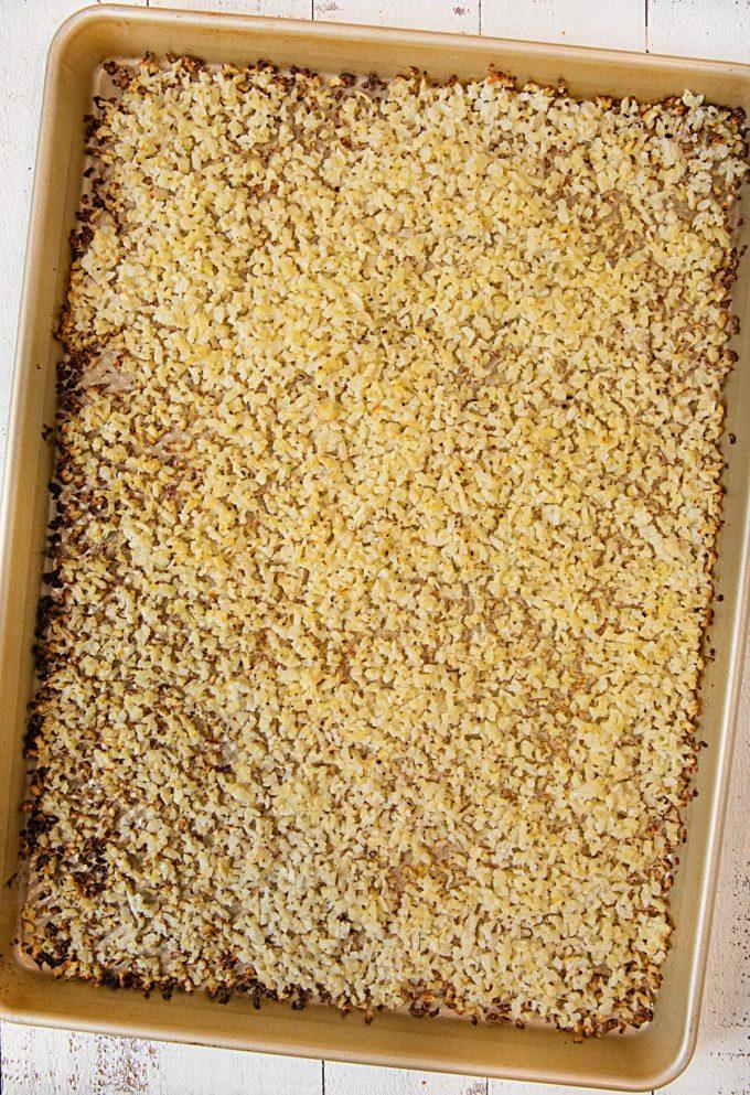 Roasted Cauliflower Rice on baking sheet