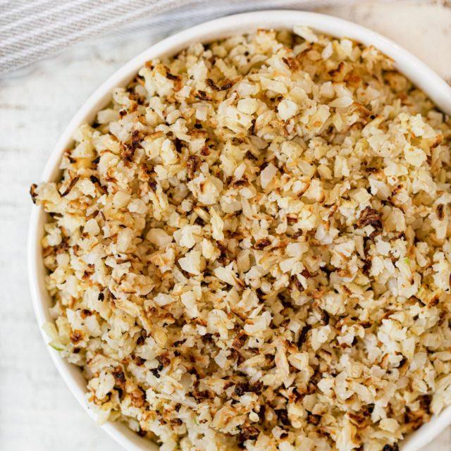 Roasted Cauliflower Rice in bowl