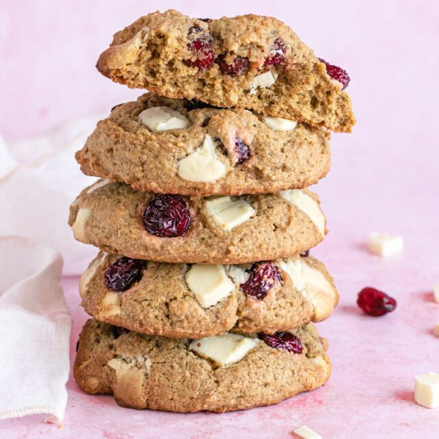 White Chocolate Cranberry Cookies in a stack
