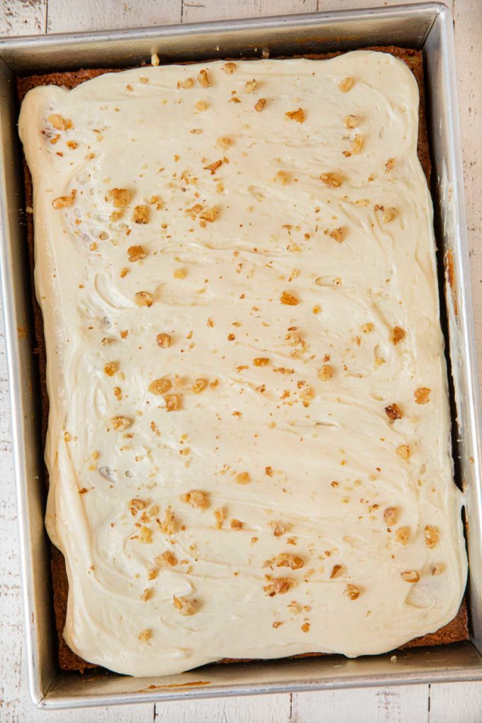 Whole Wheat Carrot Sheet Cake frosted in cake pan