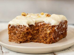Whole Wheat Carrot Sheet Cake slice on plate