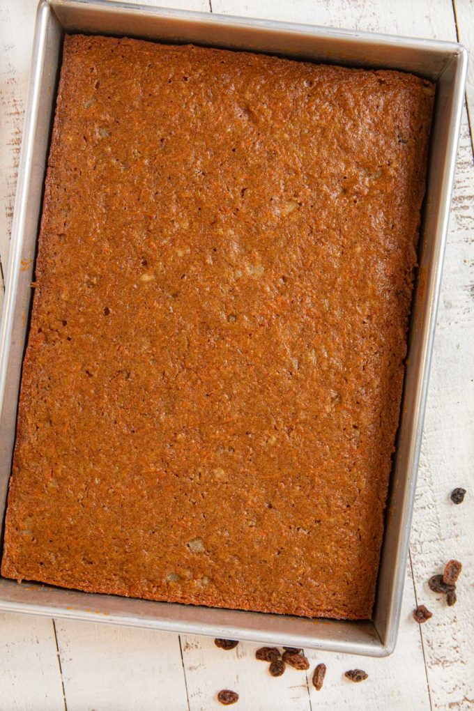Whole Wheat Carrot Sheet Cake in cake pan before frosting