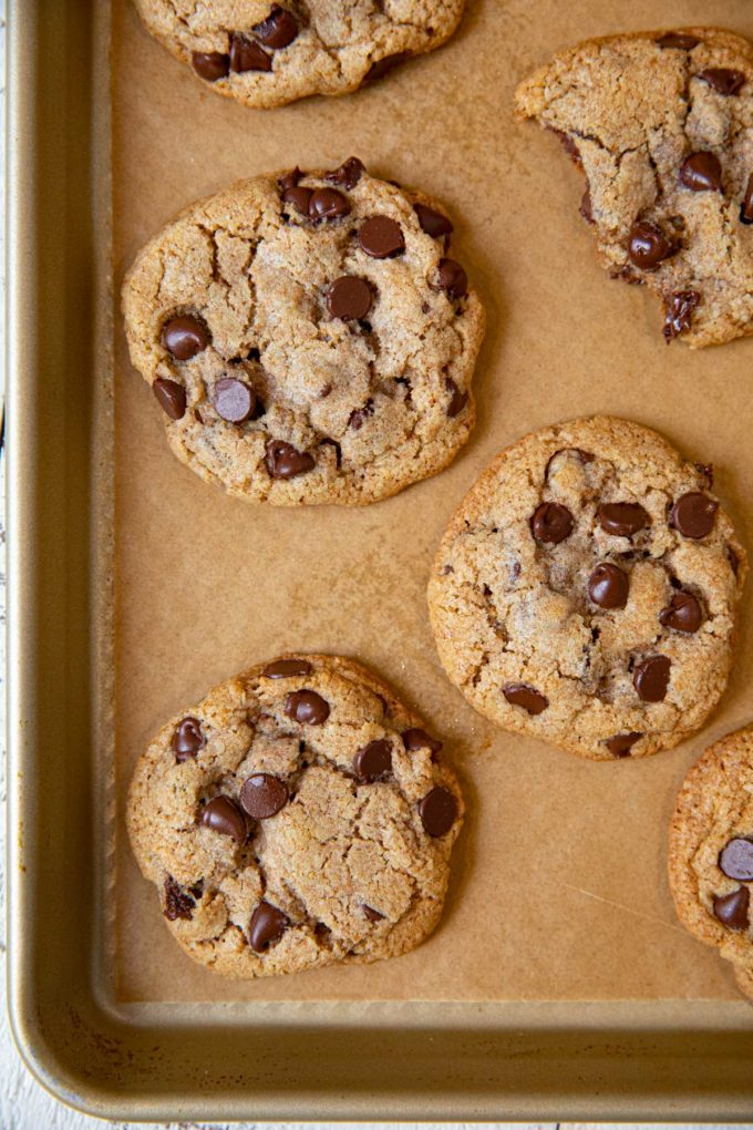 Whole Wheat Chocolate Chip Cookies on baking sheet