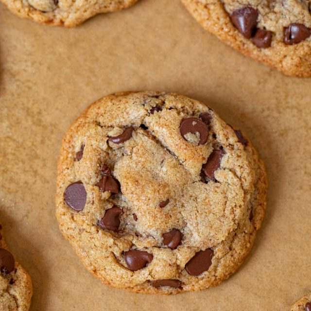 Chocolate Chip Whole Wheat Cookies close up on cookie sheet