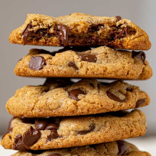 Whole Wheat Chocolate Chip Cookies in stack