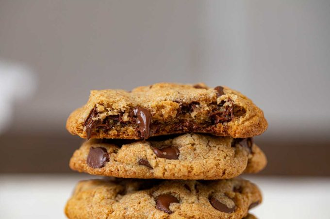 Up Close Healthy Chocolate Chip Cookie in stack