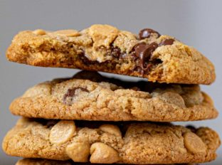 Whole Wheat Peanut Butter Chocolate Chip Cookies in stack