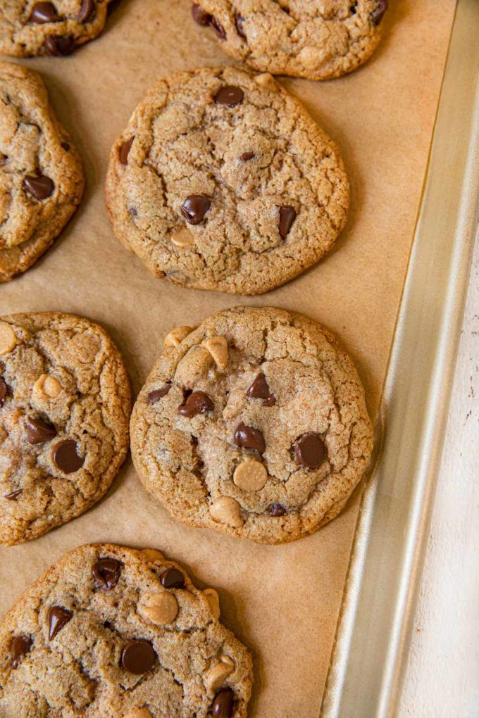 Whole Wheat Peanut Butter Chocolate Chip Cookies on cookie sheet