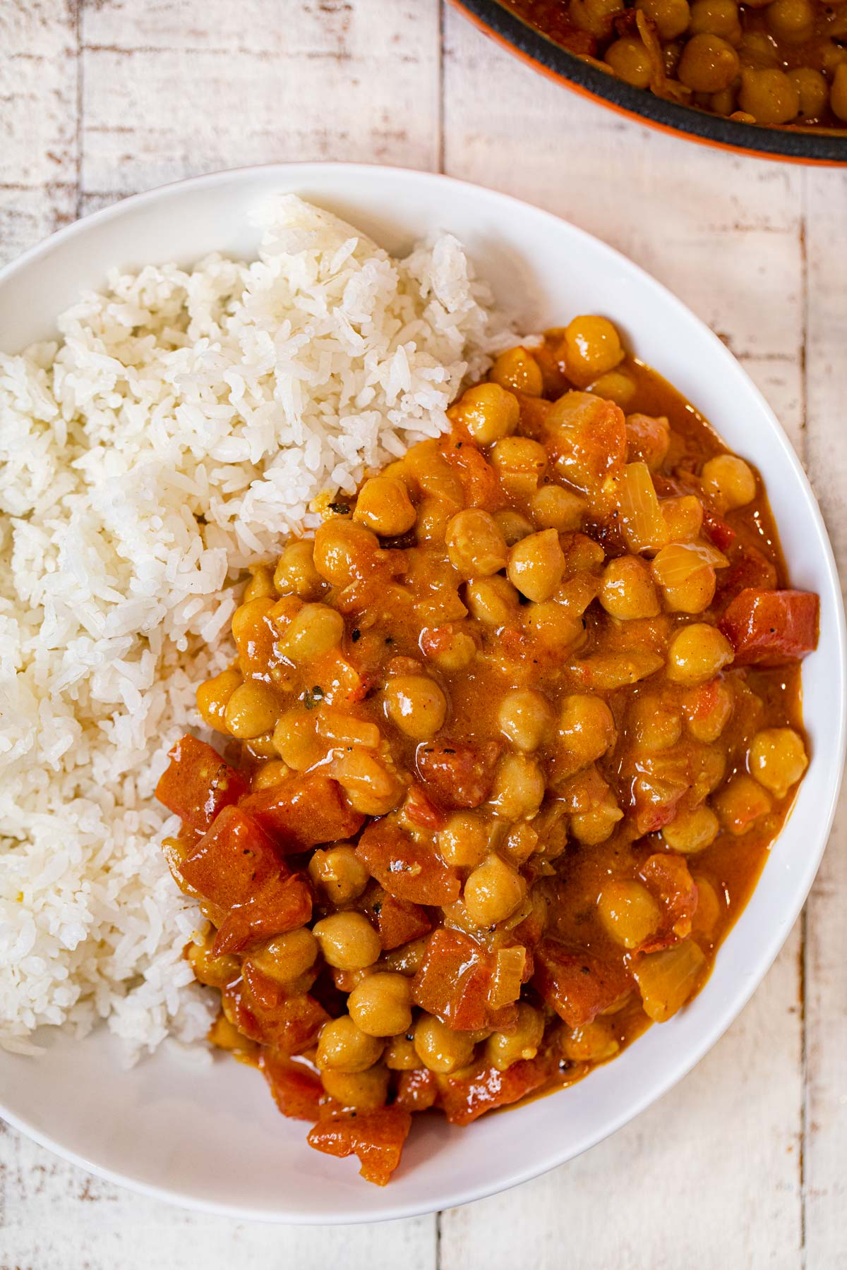 Bowl of Coconut Chickpea Curry with steamed rice